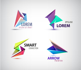 Vector set of abstract 3d origami logos.
