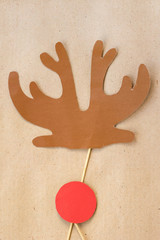 Photo booth colorful props for christmas party - antler and red nose