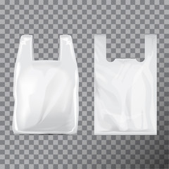 Set of Disposable T-Shirt Plastic Bag Package. Illustration Isolated Transparent Background. Vector Mock Up Template