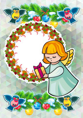 Christmas holiday card with pine branches, sweet little angel and round wreath.