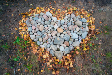 Heart made of stones .