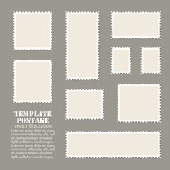 Empty template blank white postage set paper mark symbol of delivery correspondence. Vector illustration