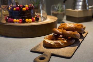 Close-up of pretzels on wooden board