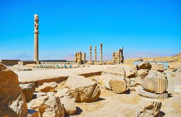 The ruins of Persian palaces in Persepolis, Iran