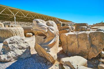 The ruined sculptures of Apadana, Persepolis, Iran