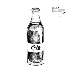 Hand drawn set of fast food.Bottle of cold carbonated cola soda drink . Vintage engraved vector illustration. Isolated on white. For restaurant, menu, street food, bakery, cafe, logo, flyer, banner