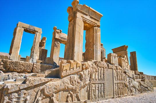 Reliefs on Tachara palace, Persepolis, Iran