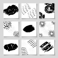 Black ink brushes grunge square patterns, hand drawing backgrounds, brush strokes elements.
