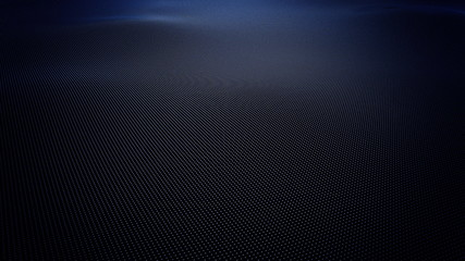 Abstract blue wavy surface made of balls, 3D rendering