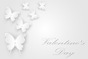 White butterflies fly postcard with Valentine's Day