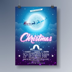 Vector Merry Christmas Party Flyer Illustration with Flying Santa in the Moon on Blue Night Sky Background. Premium Celebration Poster Illustration.