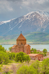The Armenian Cathedral Church of the Holy Cross in Akdamar Island in Van Lake, Turkey
