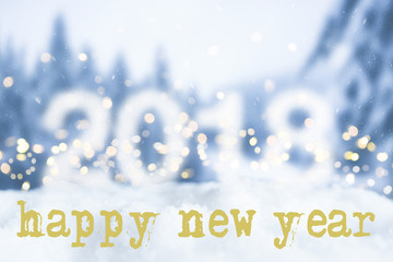 happy new year greeting card with snowy winter bokeh background