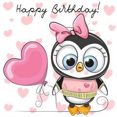 Cute Cartoon Penguin Girl with a balloon
