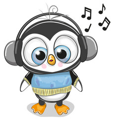 Cute cartoon Penguin Boy with headphones