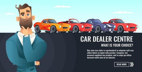 Car dealer centre concept banner. Automobile salling or rent. Auto business cartoon style illustration.