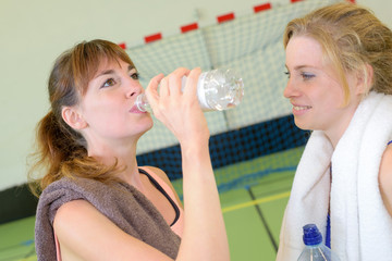 gorgeous young fitness woman drinking water