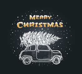 Merry christmas card. Christmas tree machine Merry Christmas hand lettering with pickup toy illustration. Happy Holidays typography for greeting card template or poster concept.