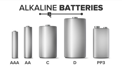 Alkaline Batteries Mock Up Set Vector. Different Types AAA, AA, C, D, PP3, 9 Volt. Standard Modern Realistic Battery. Metal Clean Empty Template Good For Branding Design. Isolated Illustration