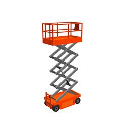 Scissors lift platform. Isolated on white background.3d Vector illustration.