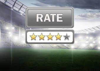 Rate button and star reviews with sports stadium pitch