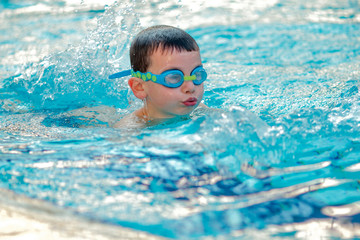 Boy swimming Freestyle
