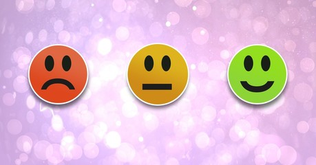 smiley faces feedback satisfaction icons on bokeh background