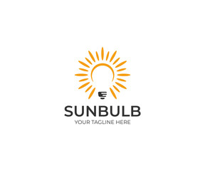Sun and Lightbulb Logo Template. LED Vector Design. Electricity Illustration