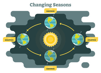 Changing seasons on planet earth diagram, graphic vector illustration with sun and planet earth