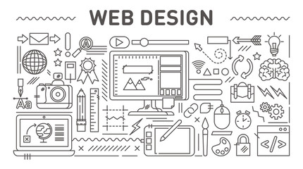 Web design concept, vector line style illustrations