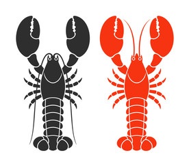 Red lobster. Isolated lobster on white background
