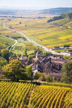 Le village de Pernand-Vergelesses, sur la côte de Beaune, en Bourgogne