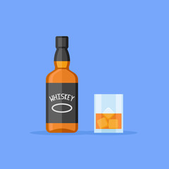 Bottle and glass of whiskey with ice isolated on blue background. Flat style vector illustration.