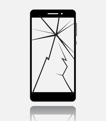 Broken smartphone with cracked touch screen, cell phone flat icon pictogram with reflection and shadow isolated on white background. Vector illustration.
