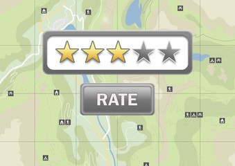 Rating stars and rate button on map locations