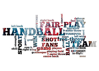 Handball Themed Word Cloud with Handball Balls Photo in the Background