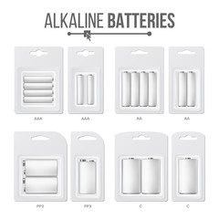 Batteries Packed Set Vector. Different Types AAA, AA, C, D, PP3, 9 Volt. Alkaline Battery In Blister. Realistic Glossy Battery Accumulator. Mock Up For Branding Design. Closeup Isolated Illustration