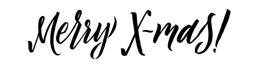 Merry Christmas Calligraphy. Greeting Card Design on White Background