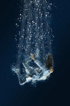 Woman floats underwater. Horrible dream