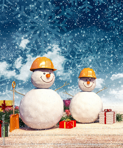 Two Snowman Workers With Presents At Christmas Night 3d