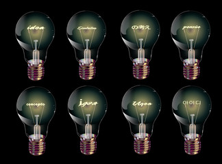 "Beautiful bulb set with the words ""idea"" in different languages vector on a dark background"