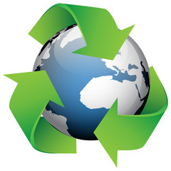 Vector illustration of globe wit recycling Icon