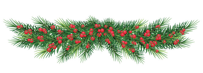 long garland of Christmas tree branches and red berries. Vector illustration. Eps 10. Realistic fir-tree border, frame isolated on white. Great for christmas flyers, party posters.