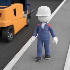 3d Männchen als Arbeiter Fußweg nutzen