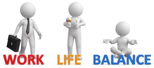 3d Männchen work - Life - Balance