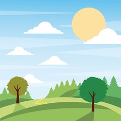 sunny nature landscape with trees and meadow cloud grass vector illustration