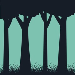 silhouette of trunk trees weed landscape green background vector illustration