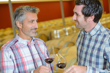 two male winemakers tasting wine in glass in winery cellar