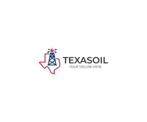 Texas Oil Logo Template. Oil Derrick Vector Design. Oil and Gas Illustration