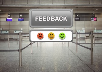 feedback button and smiley satisfaction faces review in airport